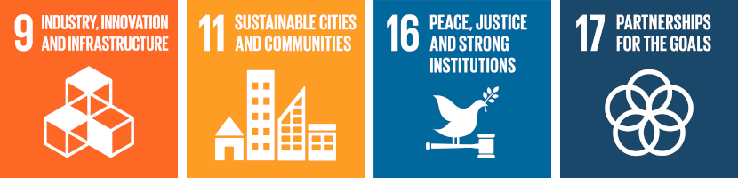 orange and blue graphic listing Sustainable Development Goals 9, 11, 16 and 17