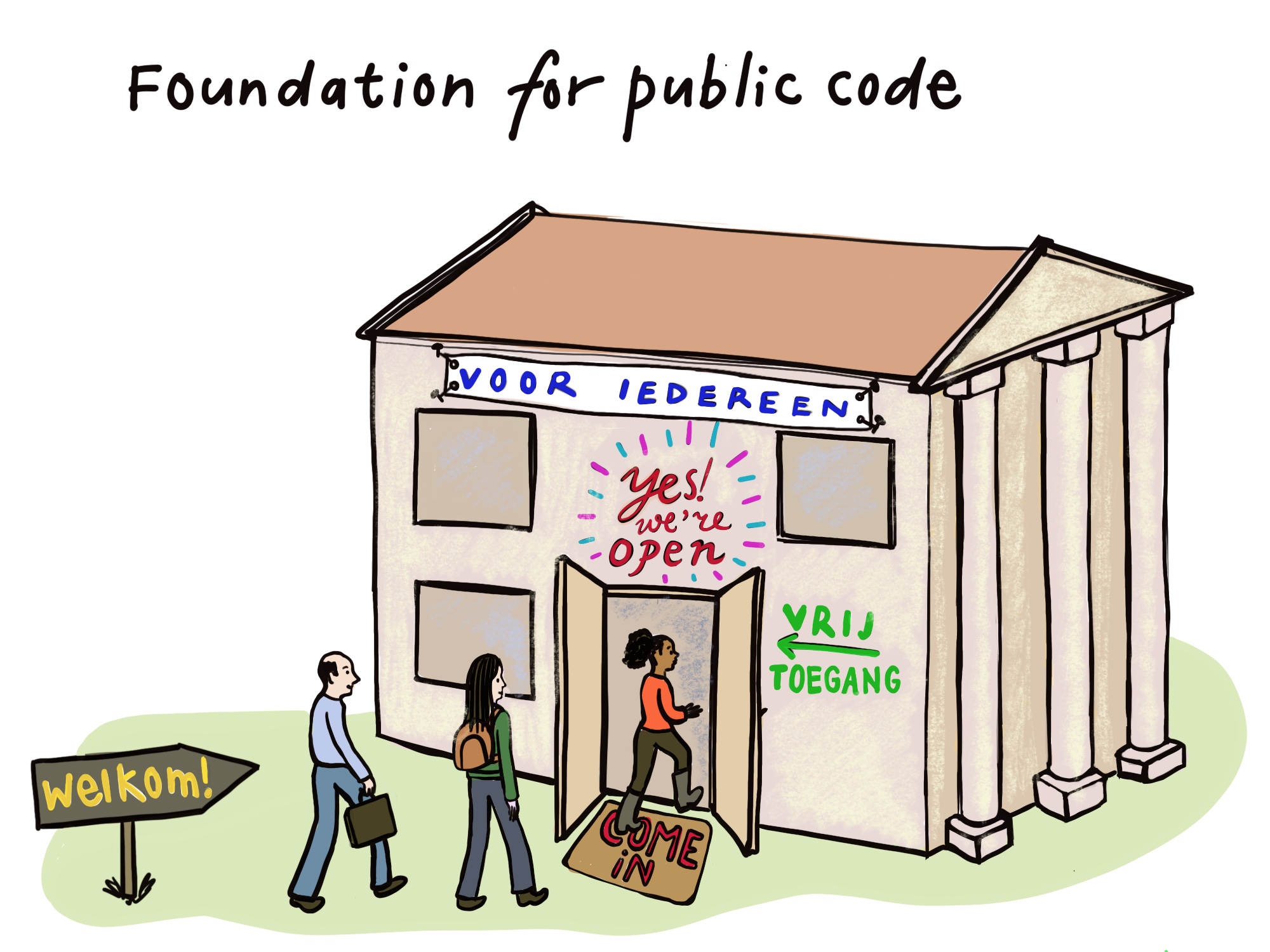 ISOC award 2020 Foundation for Public Code cartoon by Eva Hilhorst