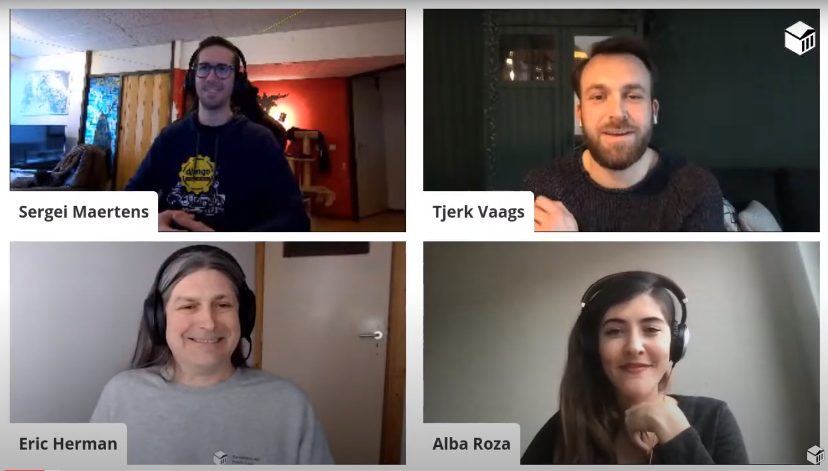 Alba, Eric, Sergei and Tjerk chatting in a video chat grid