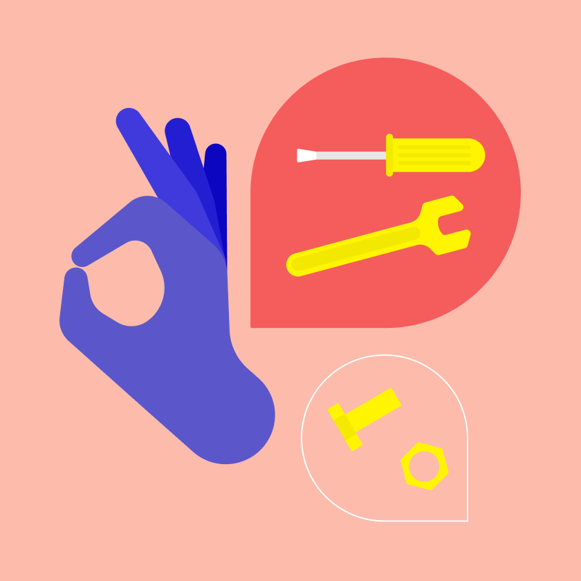 illustration of hand with speech bubbles containing screws and bolts