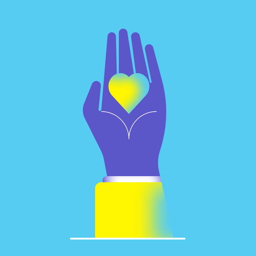 illustration of hand holding a heart
